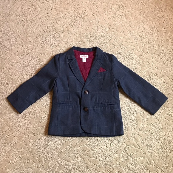 Toddler  Navy Blue Plaid Blazer Jacket with Velvet Collar size 3T Cat and Jack